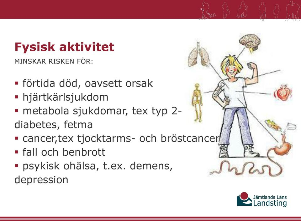 typ 2- diabetes, fetma cancer,tex tjocktarms- och