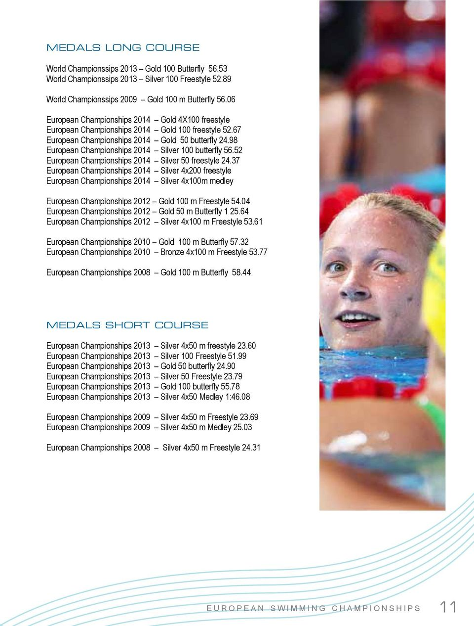 98 European Championships 2014 Silver 100 butterfly 56.52 European Championships 2014 Silver 50 freestyle 24.
