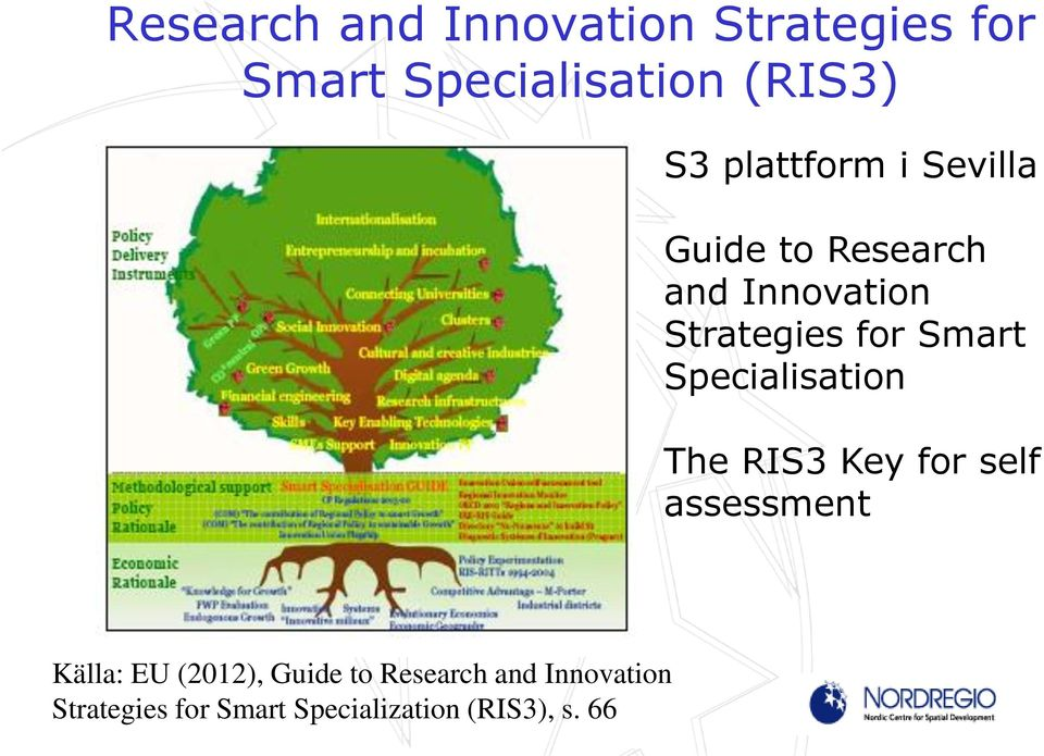 Smart Specialisation The RIS3 Key for self assessment Källa: EU (2012),