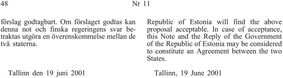 de två staterna. Tallinn den 19 juni 2001 Republic of Estonia will find the above proposal acceptable.