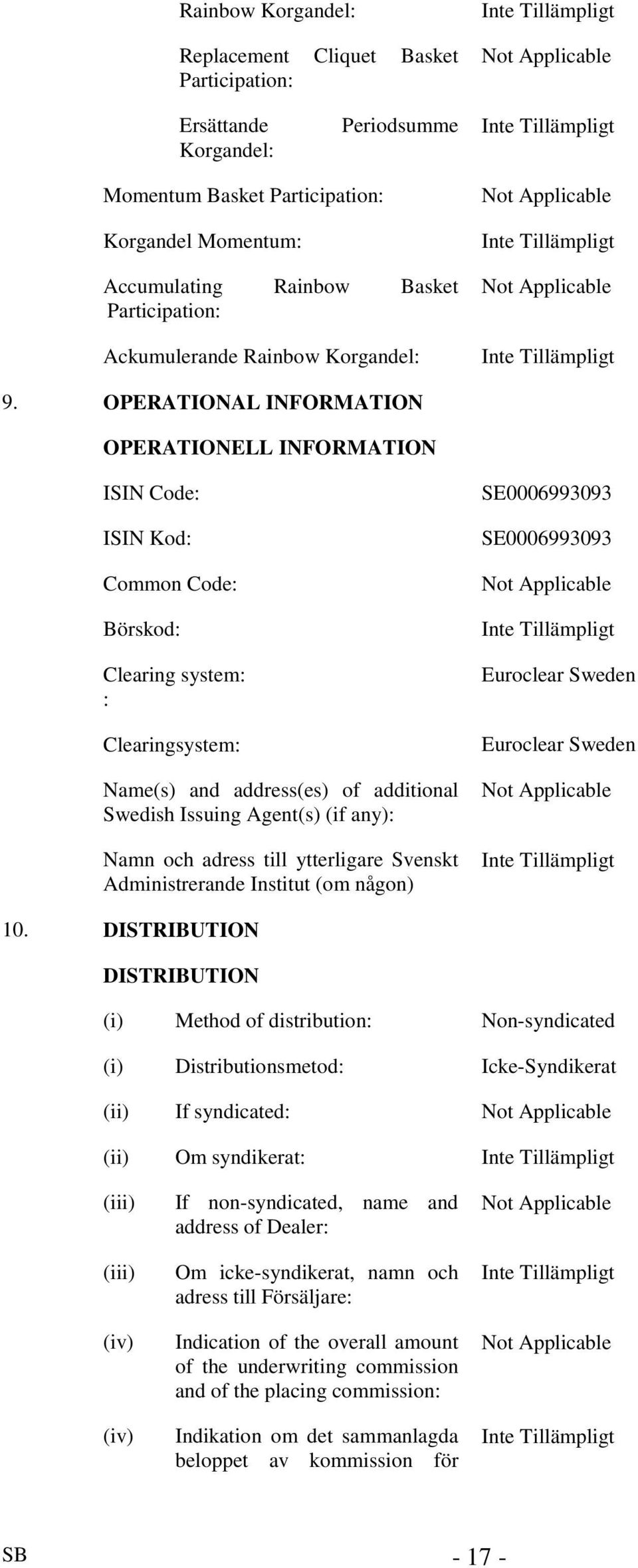 OPERATIONAL INFORMATION OPERATIONELL INFORMATION ISIN Code: ISIN Kod: Common Code: Börskod: Clearing system: : Clearingsystem: Name(s) and address(es) of additional Swedish Issuing Agent(s) (if any):