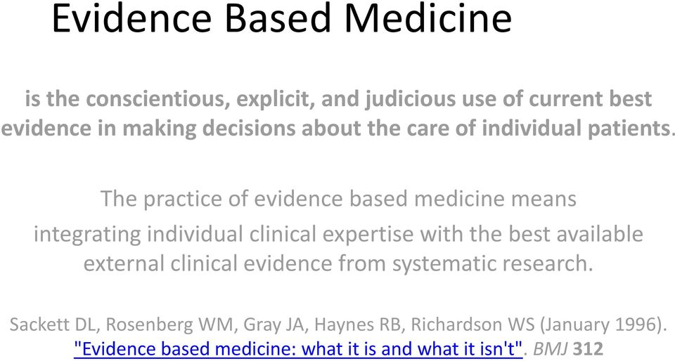 The practice of evidence based medicine means integrating individual clinical expertise with the best available