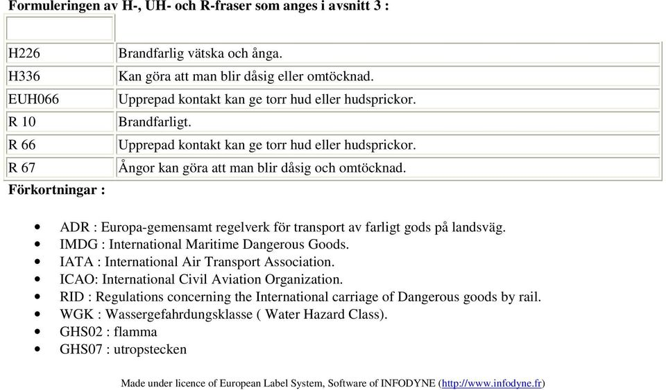 ADR : Europa-gemensamt regelverk för transport av farligt gods på landsväg. IMDG : International Maritime Dangerous Goods. IATA : International Air Transport Association.