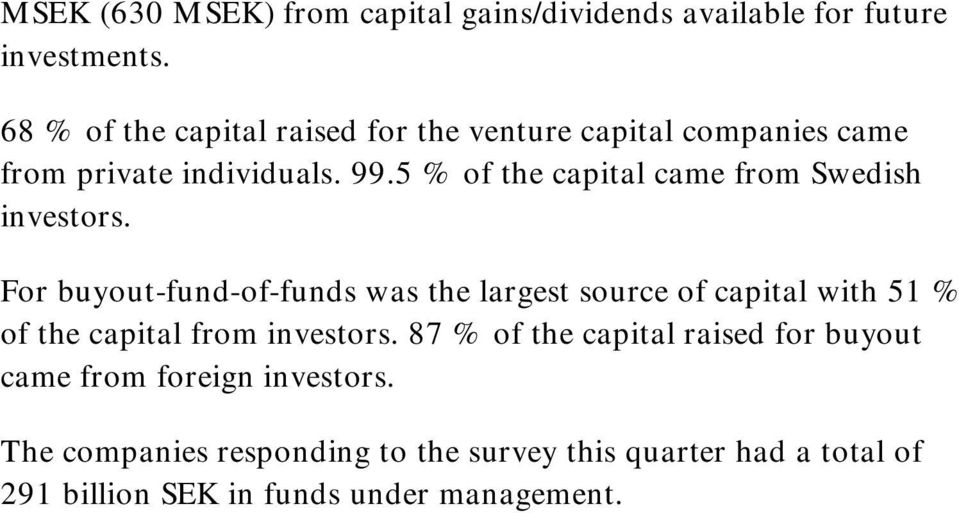 5 % of the capital came from Swedish investors.