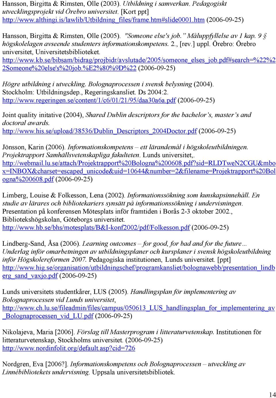 Örebro: Örebro universitet, Universitetsbiblioteket. http://www.kb.se/bibsam/bidrag/projbidr/avslutade/2005/someone_elses_job.pdf#search=%22%2 2Someone%20else's%20job.