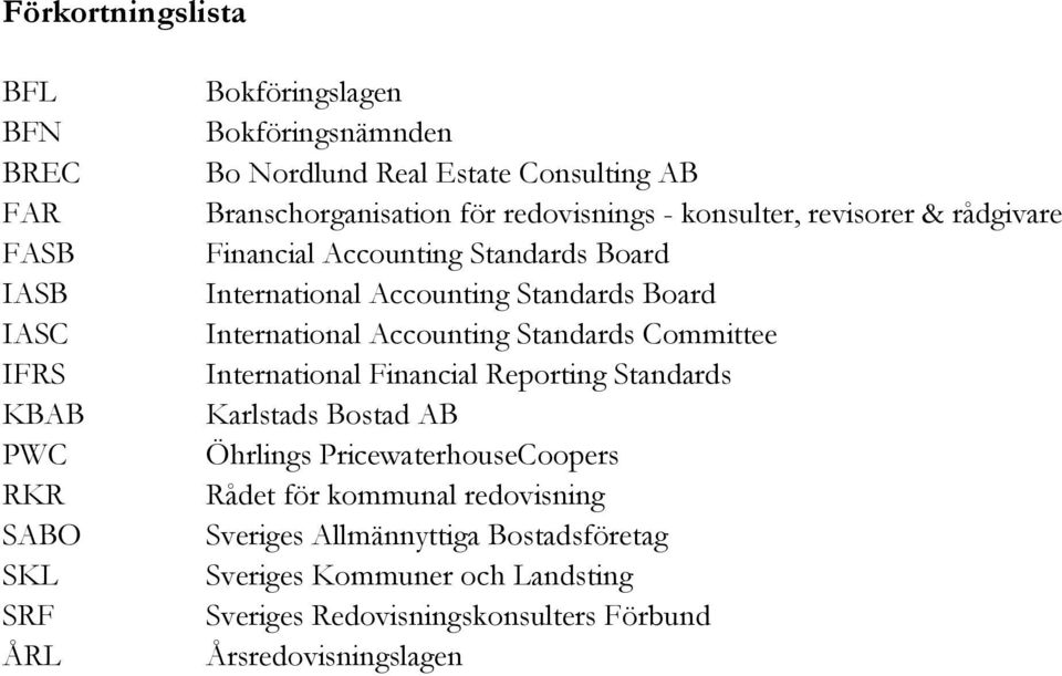 Standards Board International Accounting Standards Committee International Financial Reporting Standards Karlstads Bostad AB Öhrlings