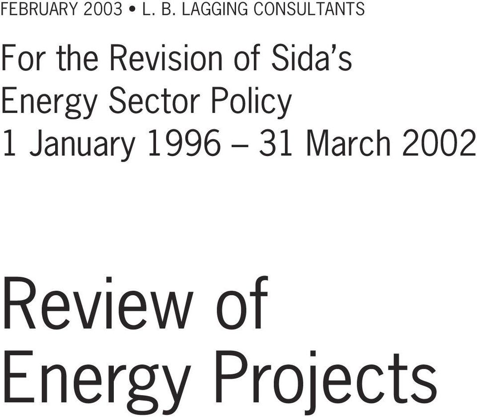 Revision of Sida s Energy Sector