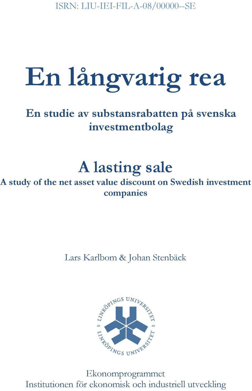 net asset value discount on Swedish investment companies Lars Karlbom &