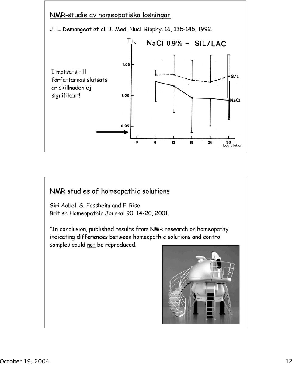 Log dilution NMR studies of homeopathic solutions Siri Aabel, S. Fossheim and F.