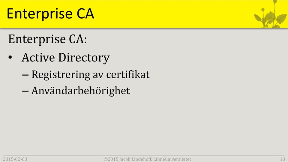 Enterprise CA: Active Directory