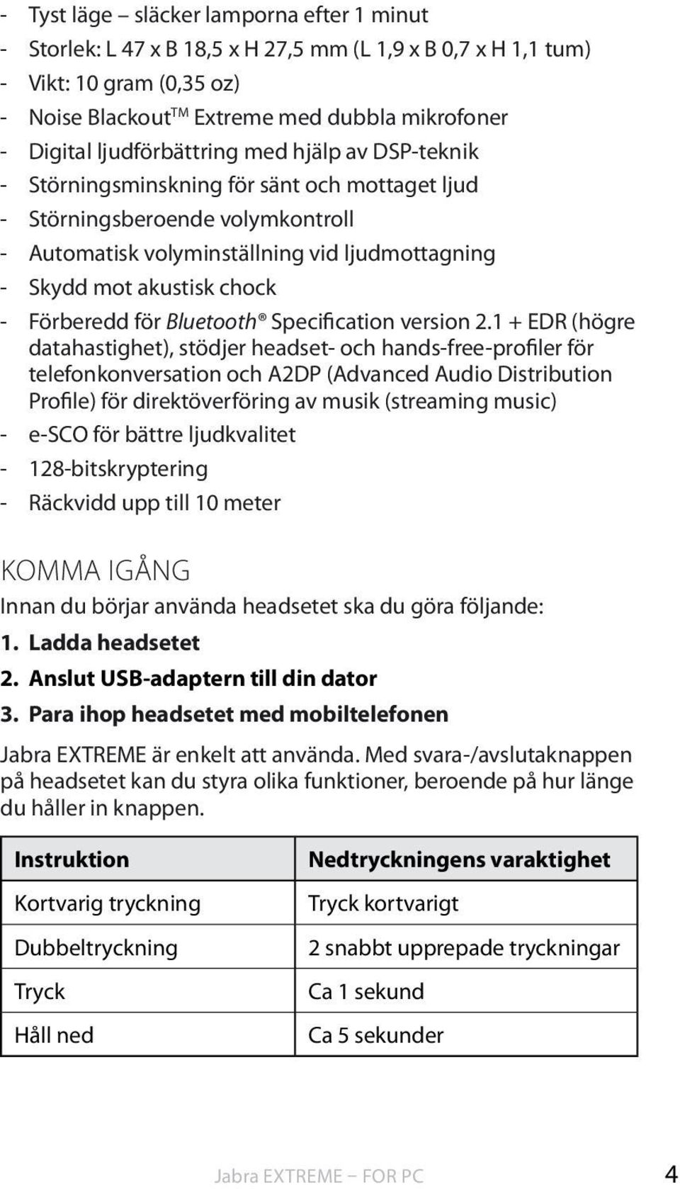 Förberedd för Bluetooth Specification version 2.