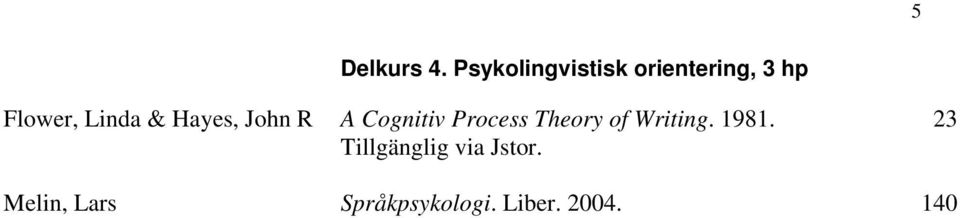 Linda & Hayes, John R A Cognitiv Process Theory