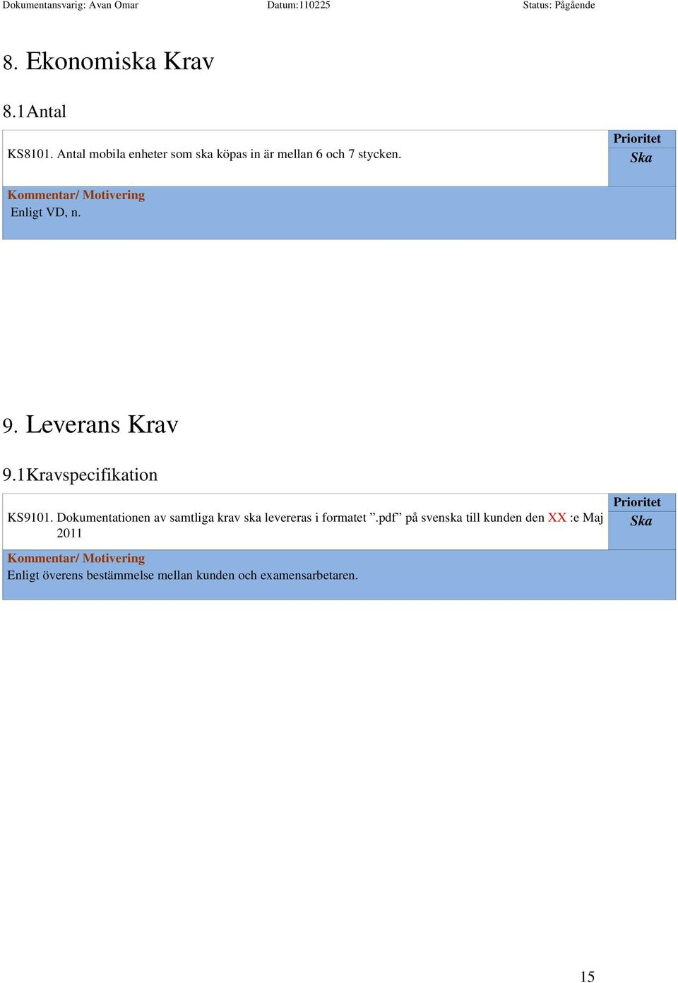Leverans Krav 9.1Kravspecifikation KS9101.