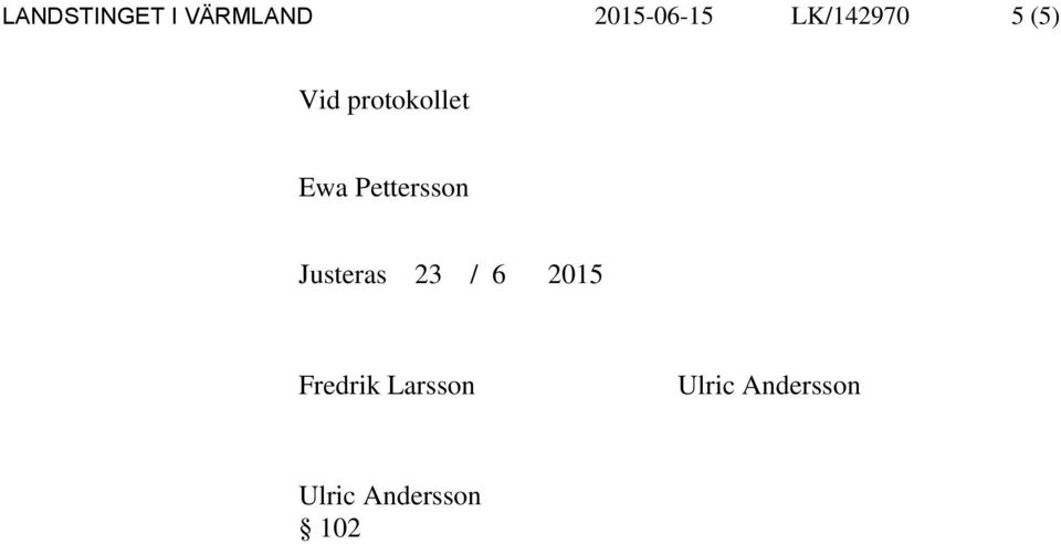 Pettersson Justeras 23 / 6 2015