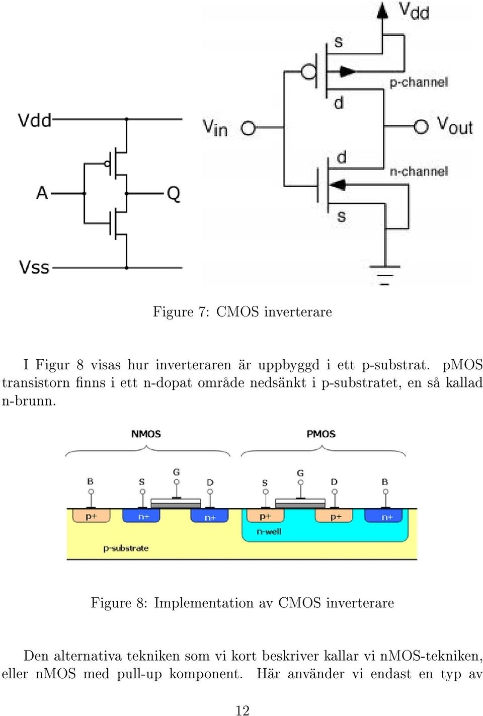 Figure 8: Implementation av CMOS inverterare Den alternativa tekniken som vi kort beskriver