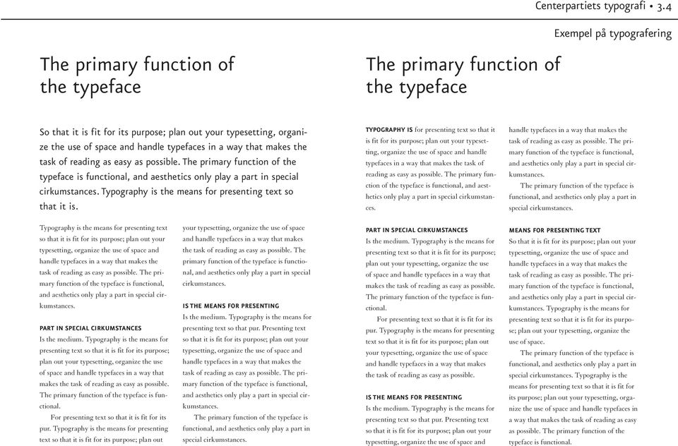 typefaces in a way that makes the task of reading as easy as possible. The primary function of the typeface is functional, and aesthetics only play a part in special cirkumstances.