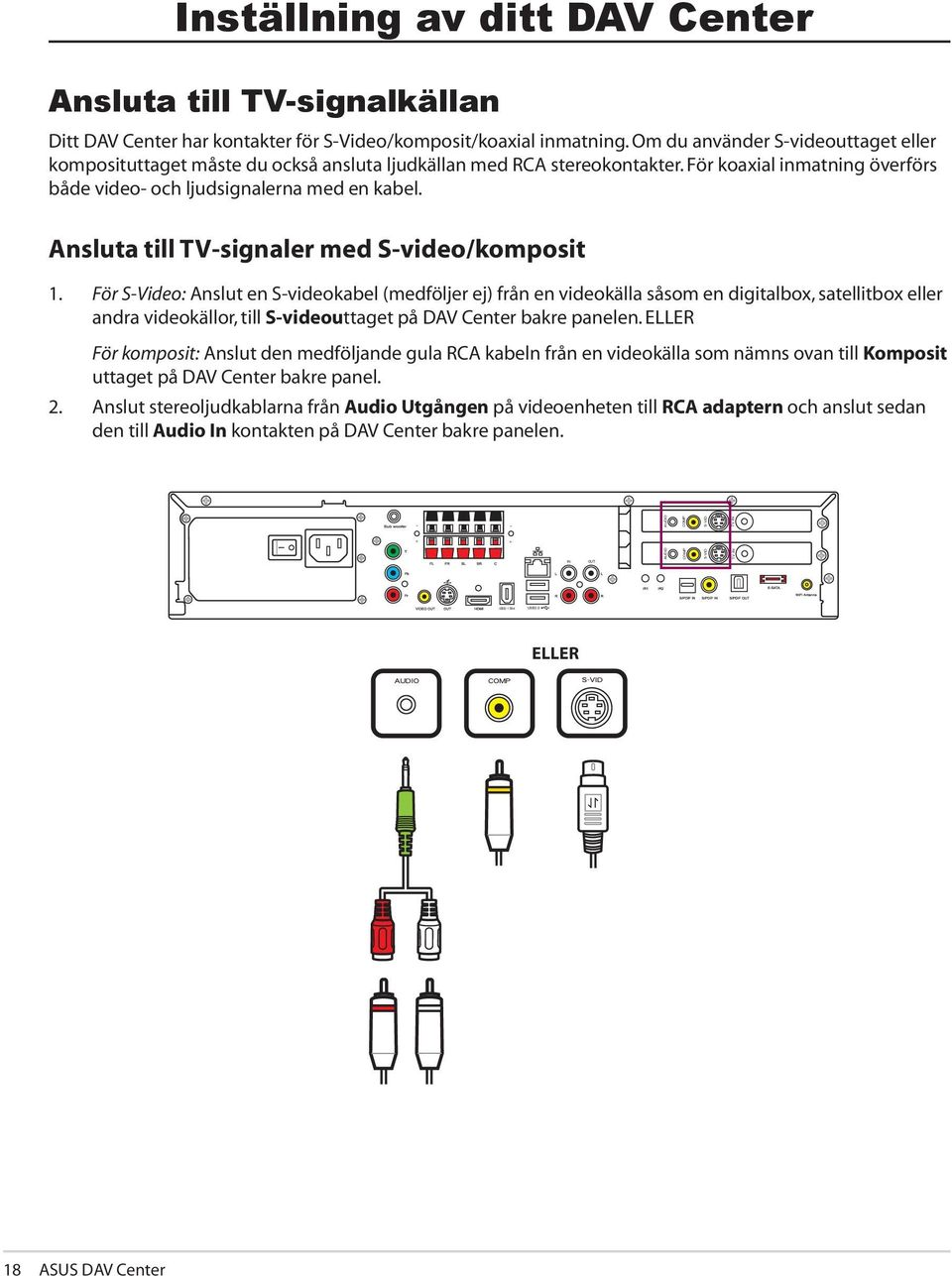 Ansluta till TV-signaler med S-video/komposit 1.