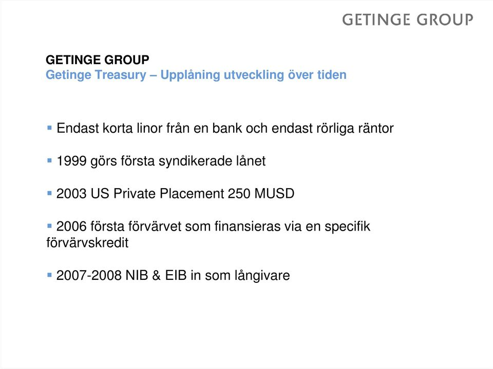 syndikerade lånet 2003 US Private Placement 250 MUSD 2006 första