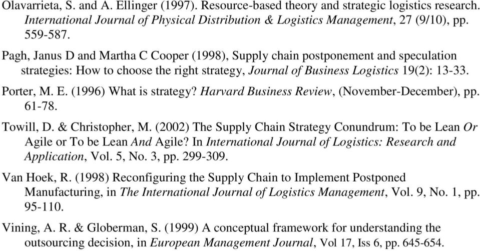 (1996) What is strategy? Harvard Business Review, (November-December), pp. 61-78. Towill, D. & Christopher, M. (2002) The Supply Chain Strategy Conundrum: To be Lean Or Agile or To be Lean And Agile?