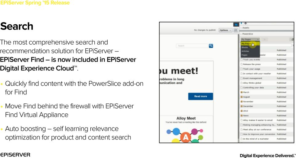 Quickly find content with the PowerSlice add-on for Find Move Find behind the firewall with EPiServer