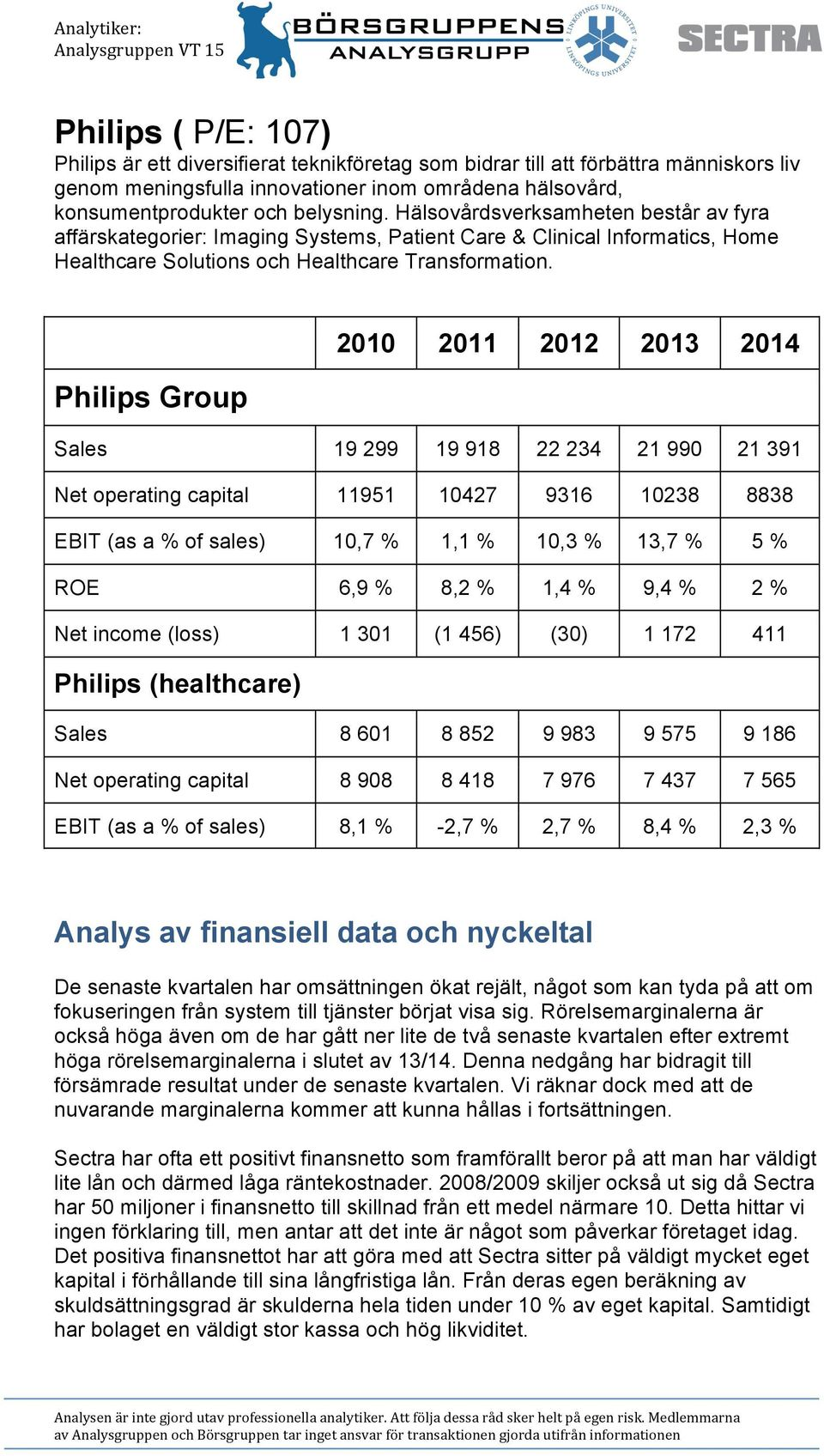 2010 2011 2012 2013 2014 Philips Group Sales 19 299 19 918 22 234 21 990 21 391 Net operating capital 11951 10427 9316 10238 8838 EBIT (as a of sales) 10,7 1,1 10,3 13,7 5 ROE 6,9 8,2 1,4 9,4 2 Net