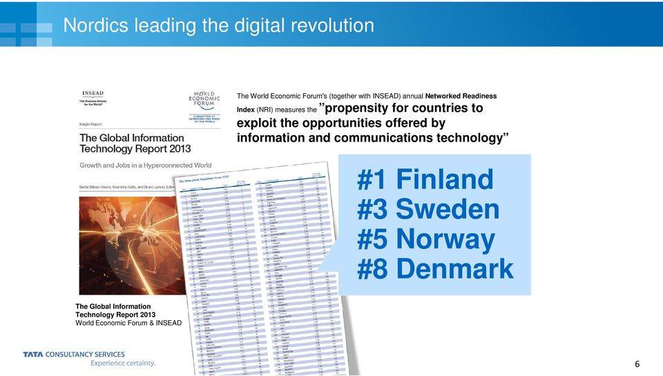 opportunities offered by information and communications technology #1 Finland #3 Sweden #5
