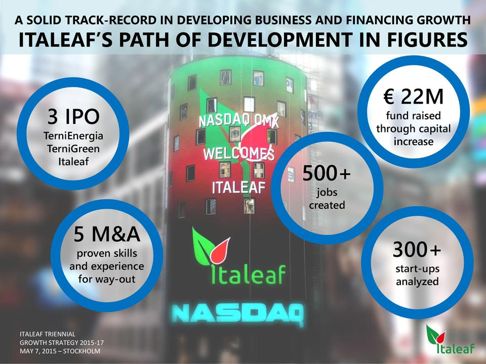 TerniGreen Italeaf 5 M&A proven skills and experience for way-out