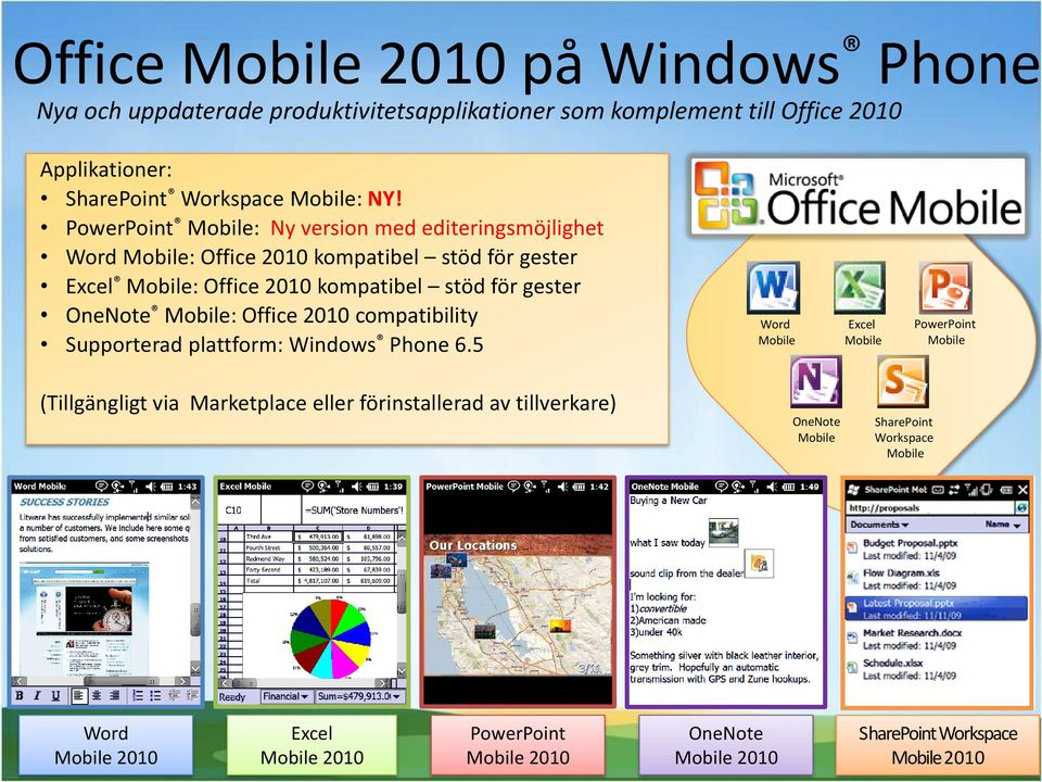 Mobile: Office 2010 compatibility Supporterad plattform: Windows Phone 6.