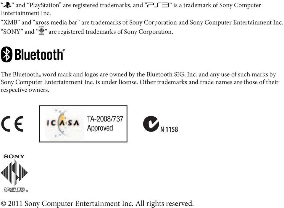 SONY and are registered trademarks of Sony Corporation. The Bluetooth word mark and logos are owned by the Bluetooth SIG, Inc.