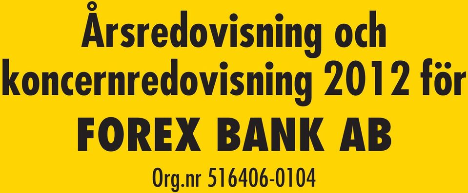 FOREX BANK AB Org.