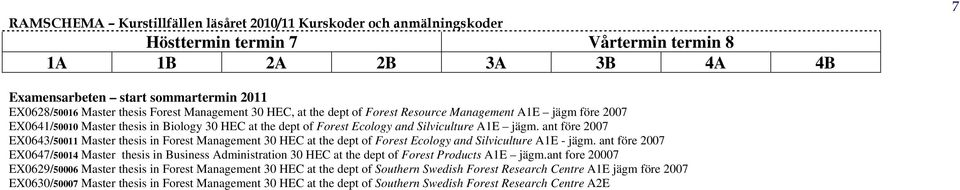 ant före 2007 EX0643/50011 Master thesis in Forest Management 30 HEC at the dept of Forest Ecology and Silviculture A1E - jägm.