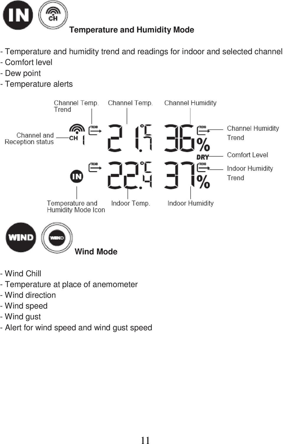 alerts Wind Mode - Wind Chill - Temperature at place of anemometer - Wind
