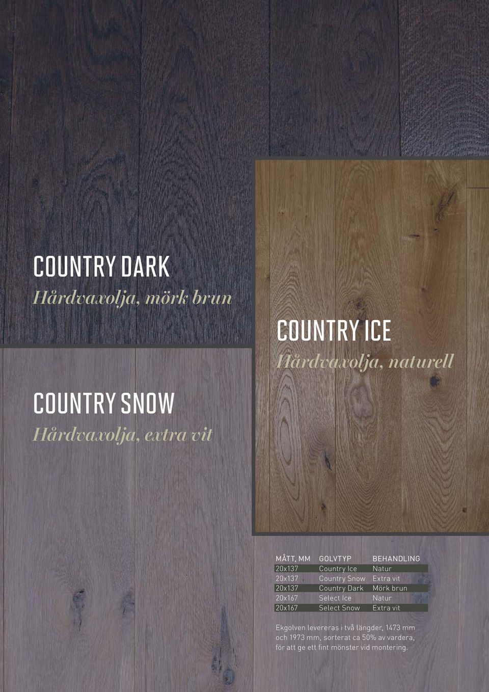 Country Dark Mörk brun 20x167 Select Ice Natur 20x167 Select Snow Extra vit Ekgolven levereras i