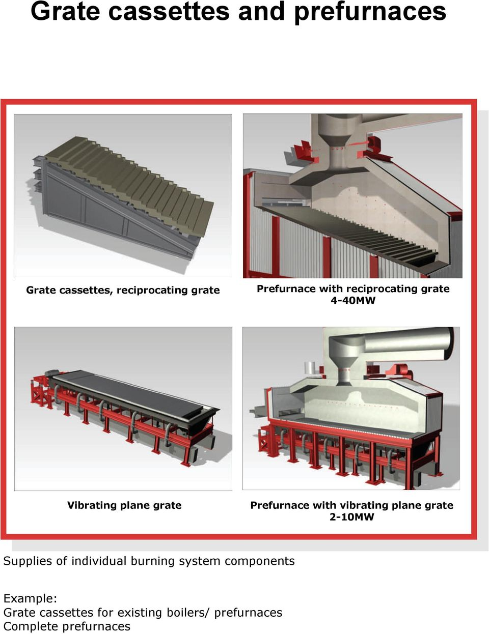 with vibrating plane grate 2-10MW Supplies of individual burning system