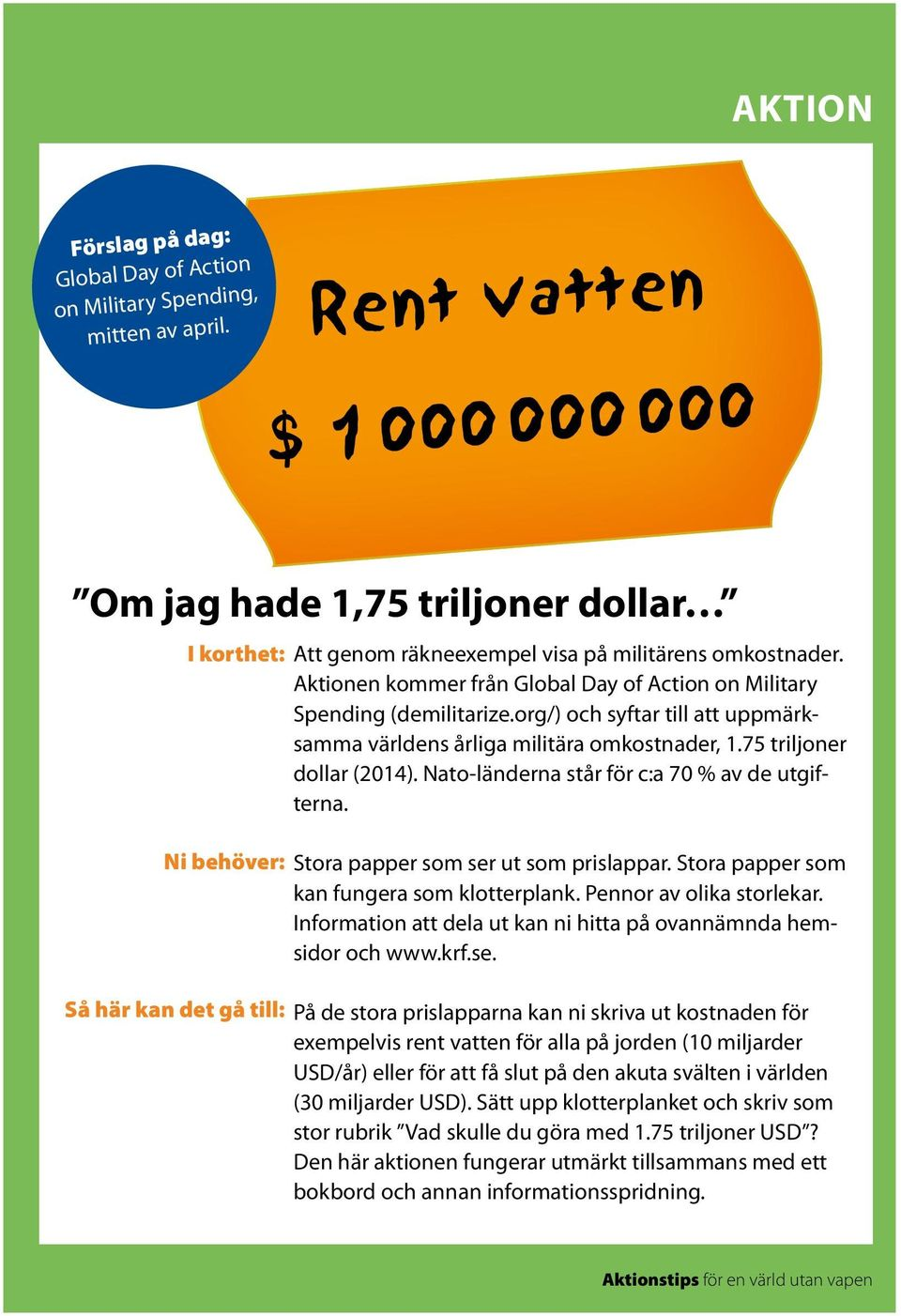 Aktionen kommer från Global Day of Action on Military Spending (demilitarize.org/) och syftar till att uppmärksamma världens årliga militära omkostnader, 1.75 triljoner dollar (2014).