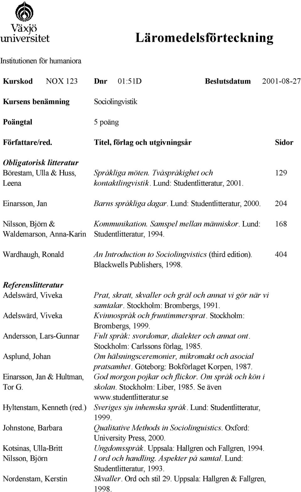 204 Nilsson, Björn & Waldemarson, Anna-Karin Wardhaugh, Ronald Kommunikation. Samspel mellan människor. Lund: Studentlitteratur, 1994. An Introduction to Sociolingvistics (third edition).