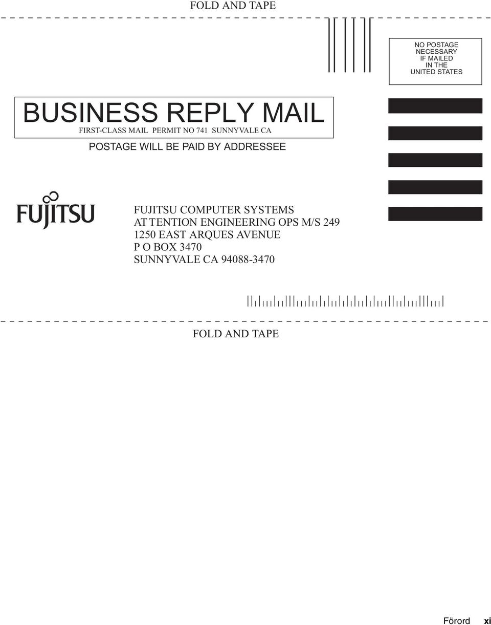 BY ADDRESSEE FUJITSU COMPUTER SYSTEMS AT TENTION ENGINEERING OPS M/S 249