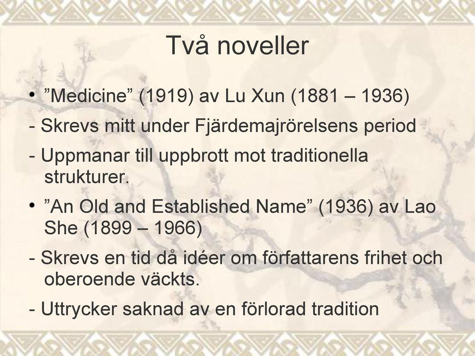 An Old and Established Name (1936) av Lao She (1899 1966) - Skrevs en tid då