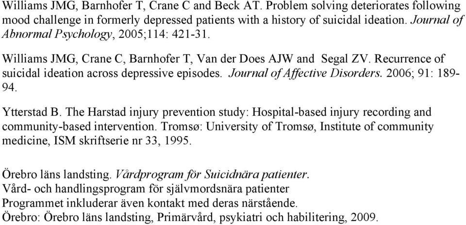 Journal of Affective Disorders. 2006; 91: 189-94. Ytterstad B. The Harstad injury prevention study: Hospital-based injury recording and community-based intervention.