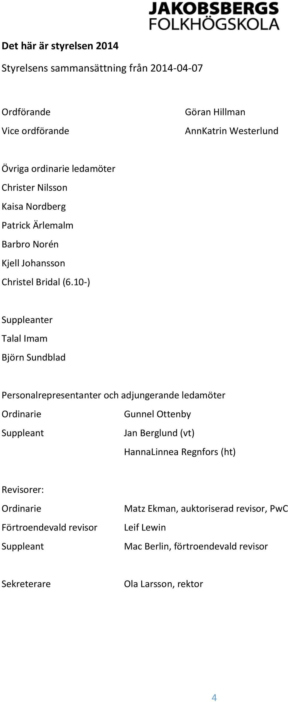 10-) Suppleanter Talal Imam Björn Sundblad Personalrepresentanter och adjungerande ledamöter Ordinarie Suppleant Gunnel Ottenby Jan Berglund (vt)