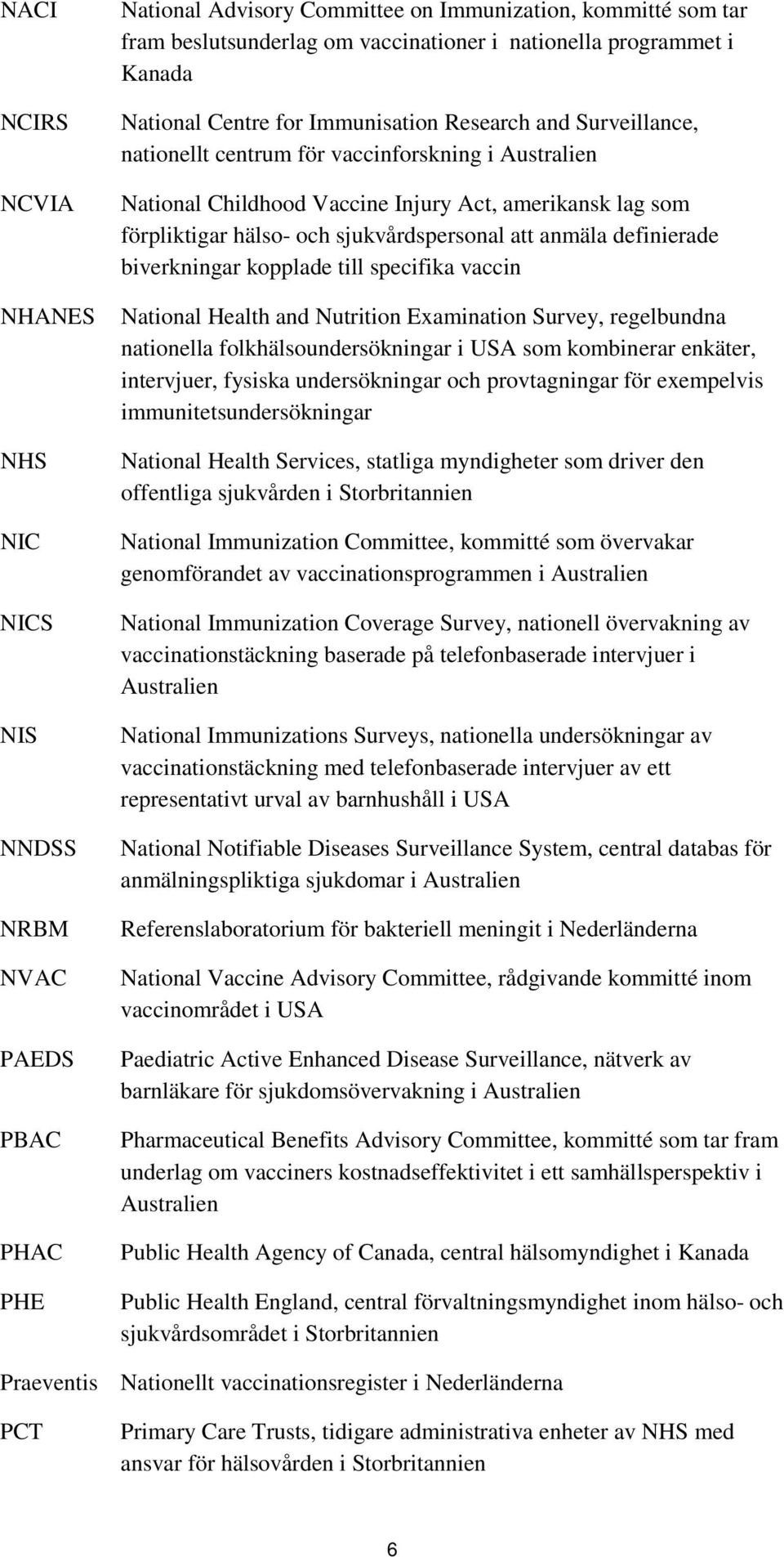 förpliktigar hälso- och sjukvårdspersonal att anmäla definierade biverkningar kopplade till specifika vaccin National Health and Nutrition Examination Survey, regelbundna nationella