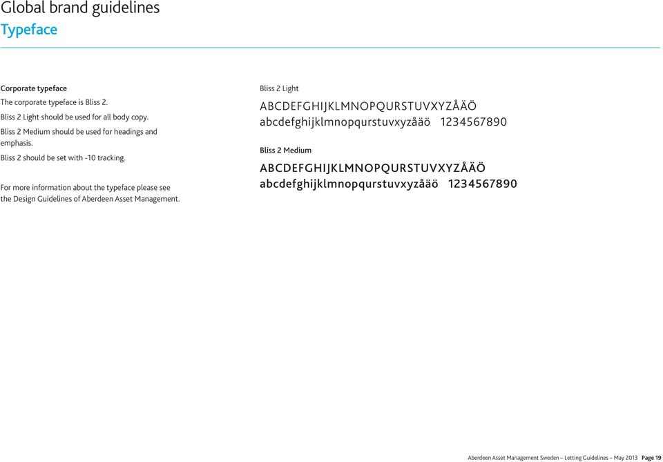 For more information about the typeface please see the Design Guidelines of Aberdeen Asset Management.