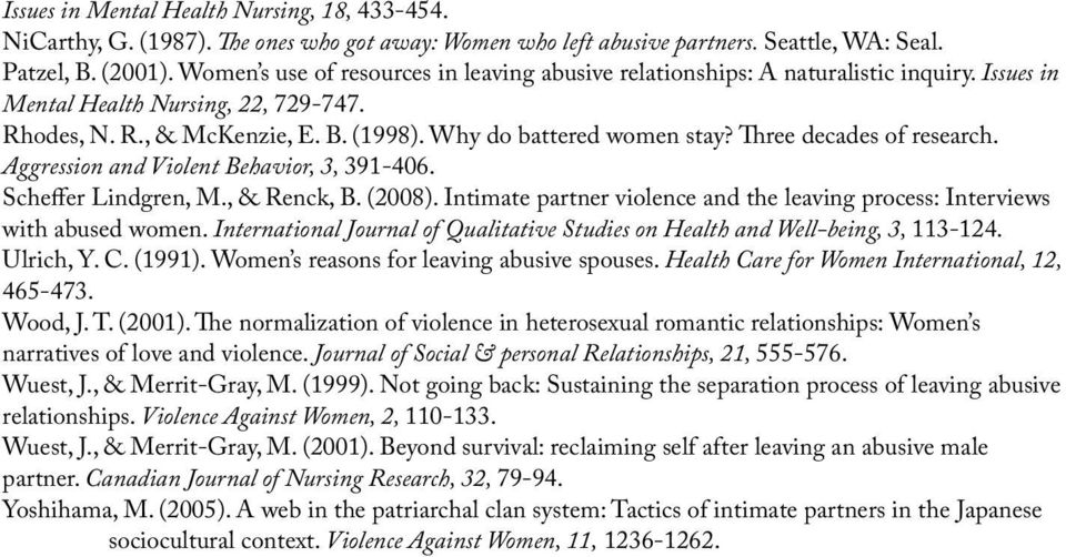 Three decades of research. Aggression and Violent Behavior, 3, 391-406. Scheffer Lindgren, M., & Renck, B. (2008). Intimate partner violence and the leaving process: Interviews with abused women.