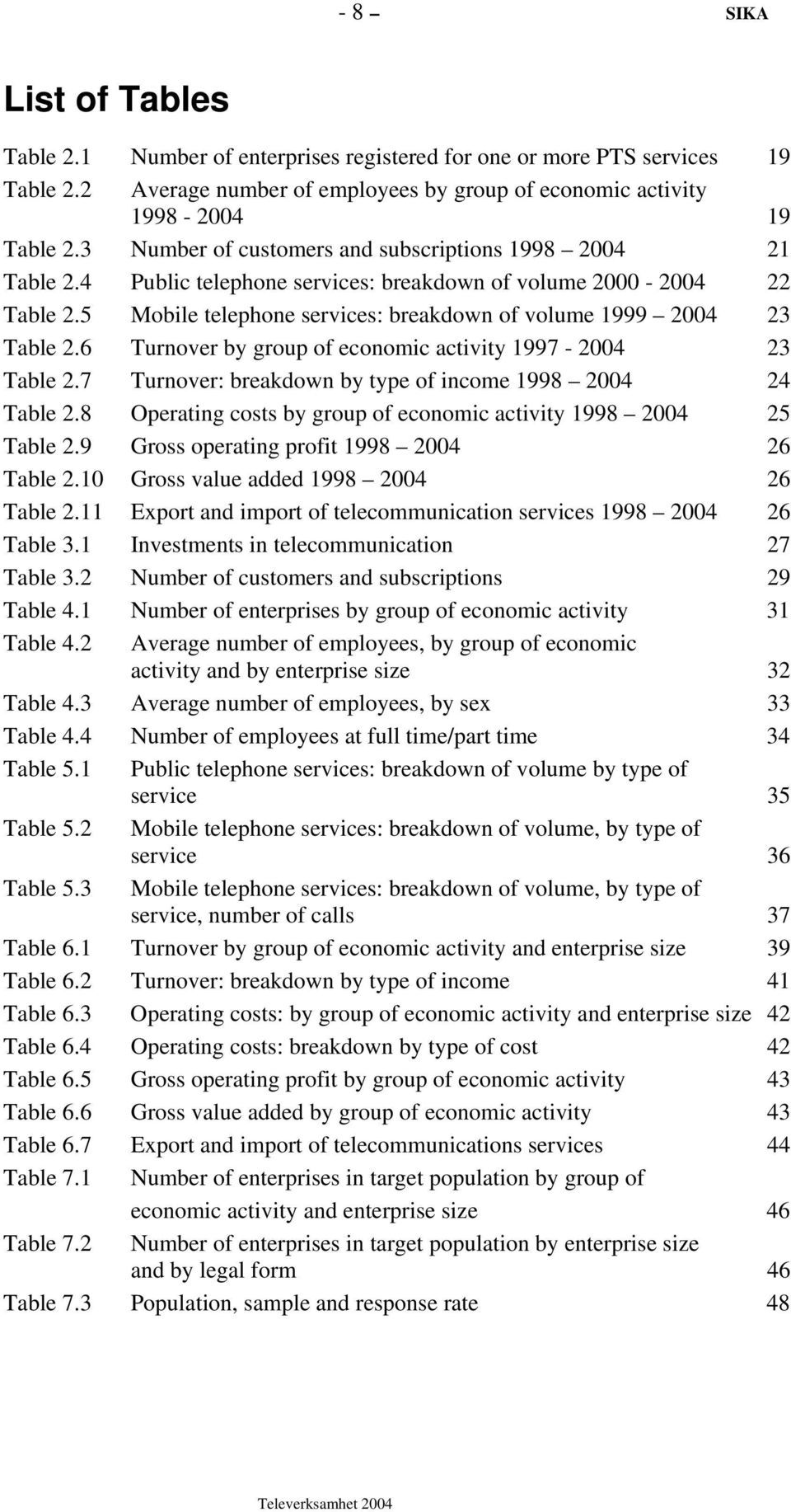5 Mobile telephone services: breakdown of volume 1999 2004 23 Table 2.6 Turnover by group of economic activity 1997-2004 23 Table 2.7 Turnover: breakdown by type of income 1998 2004 24 Table 2.