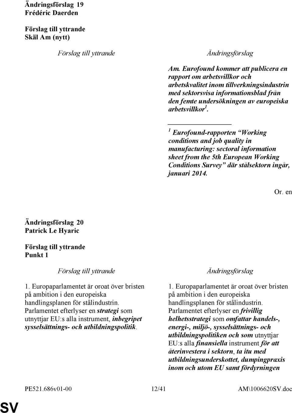1 Eurofound-rapporten Working conditions and job quality in manufacturing: sectoral information sheet from the 5th European Working Conditions Survey där stålsektorn ingår, januari 2014.