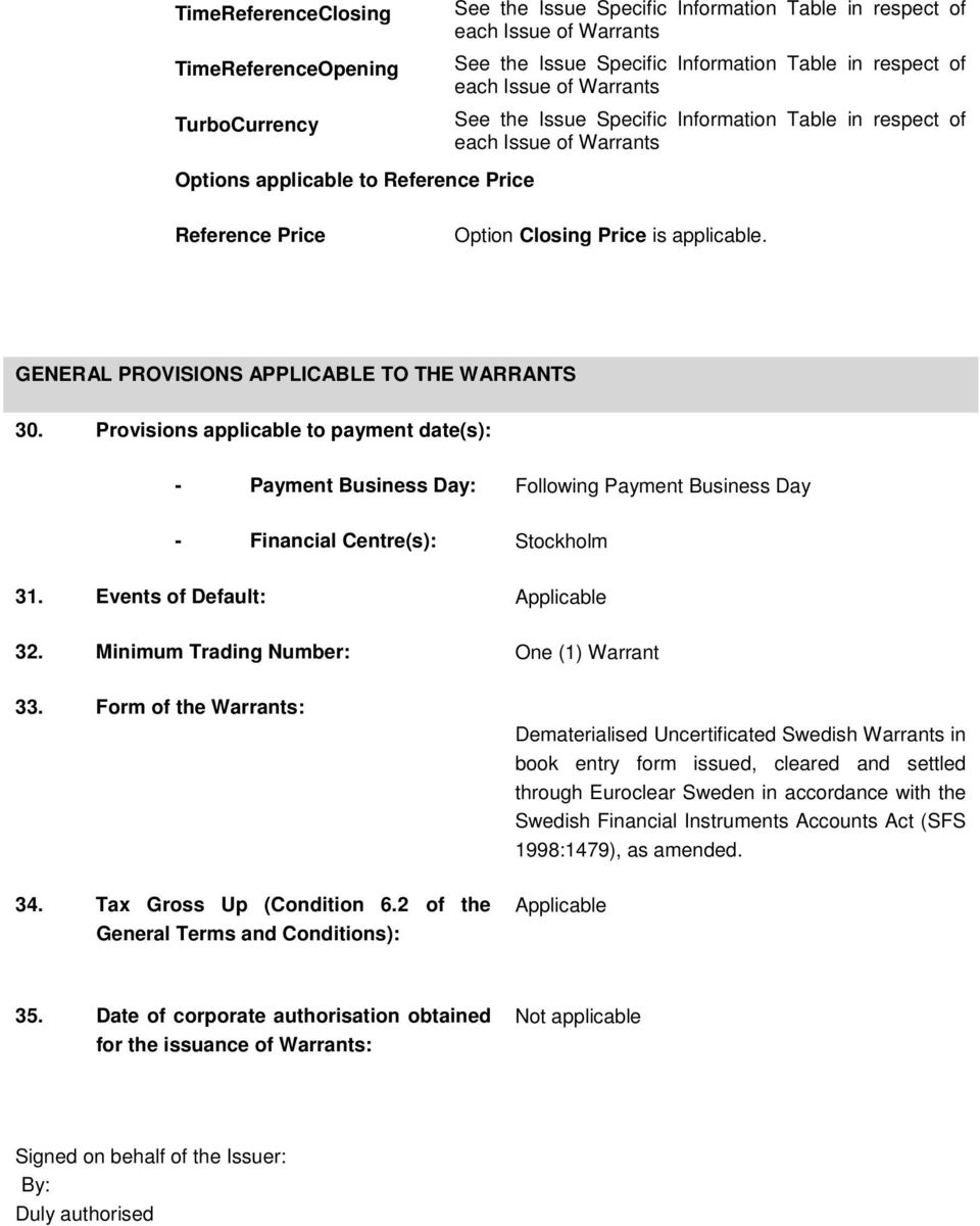 GENERAL PROVISIONS APPLICABLE TO THE WARRANTS 30. Provisions applicable to payment date(s): - Payment Business Day: Following Payment Business Day - Financial Centre(s): Stockholm 31.