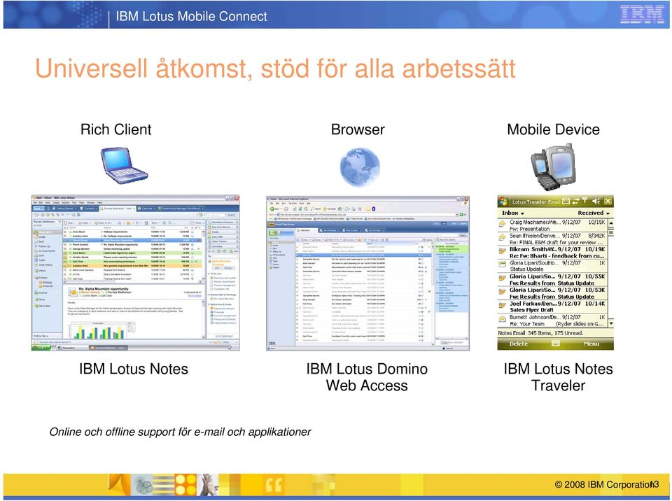 Lotus Domino Web Access IBM Lotus Notes Traveler