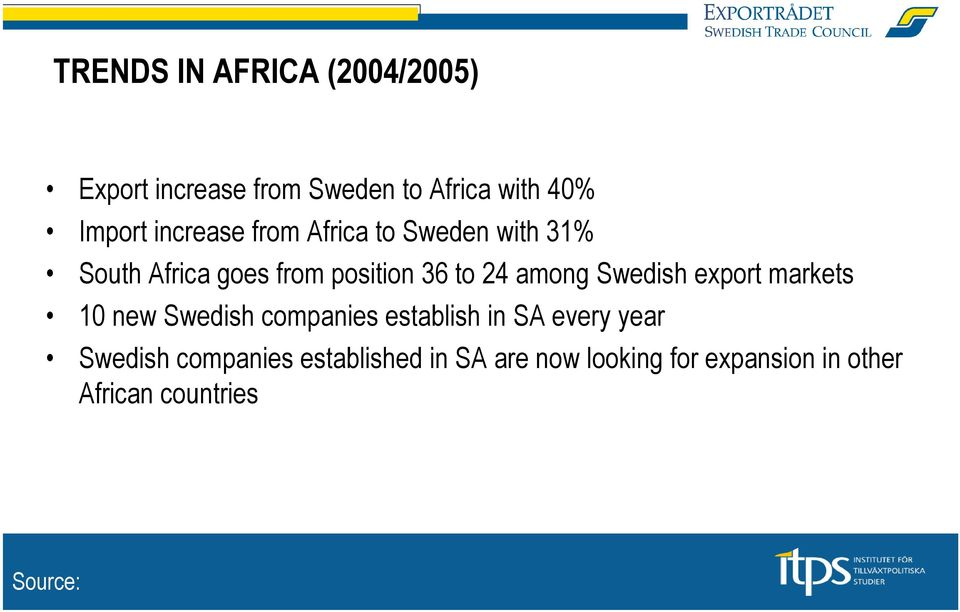 Swedish export markets 10 new Swedish companies establish in SA every year Swedish