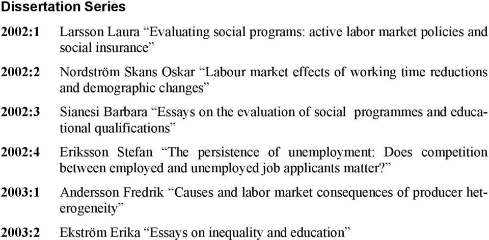 educational qualifications 2002:4 Eriksson Stefan The persistence of unemployment: Does competition between employed and unemployed job applicants