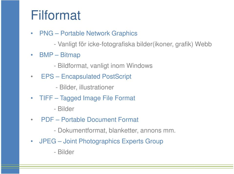 Bilder, illustrationer TIFF Tagged Image File Format - Bilder PDF Portable Document